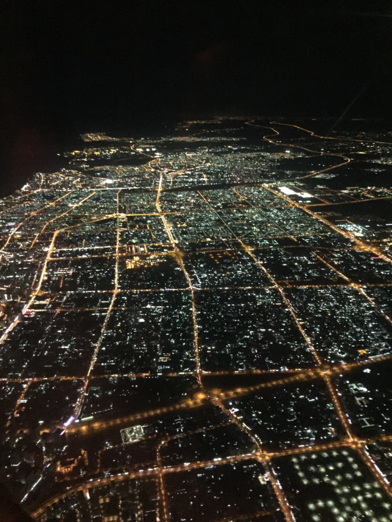 Picture of the Dubai city lights as we descend to the airport.
